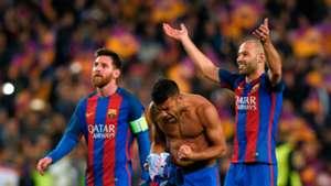 Messi, Rafinha e Mascherano  Barcelona x PSG 08032017 Champions League
