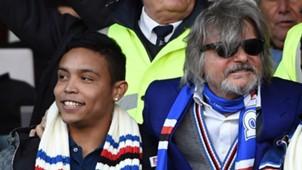 Luis Muriel con el presidente de Sampdoria