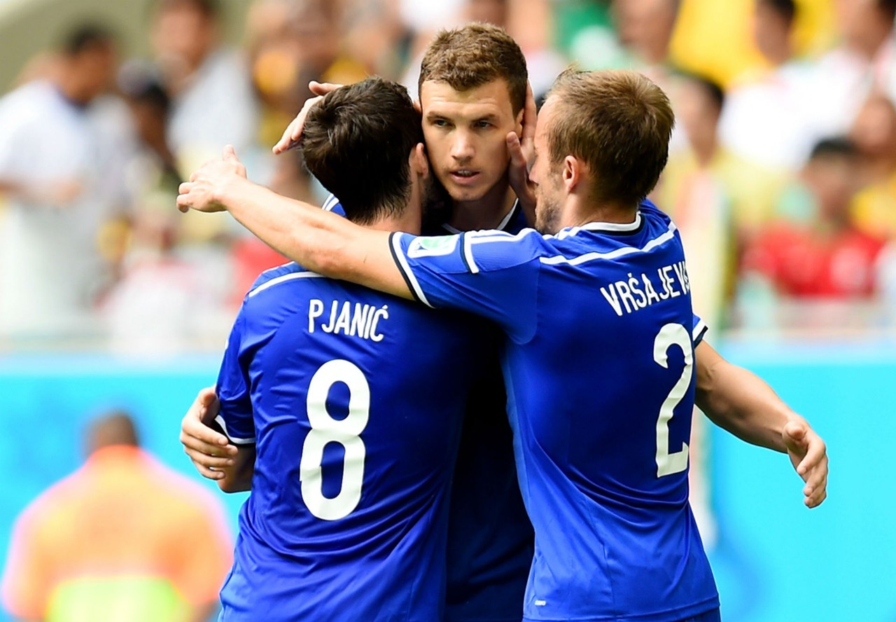 edin dzeko miralem pjanic avdija vrsajevoc bosnia iran 2014 world cup 25062014