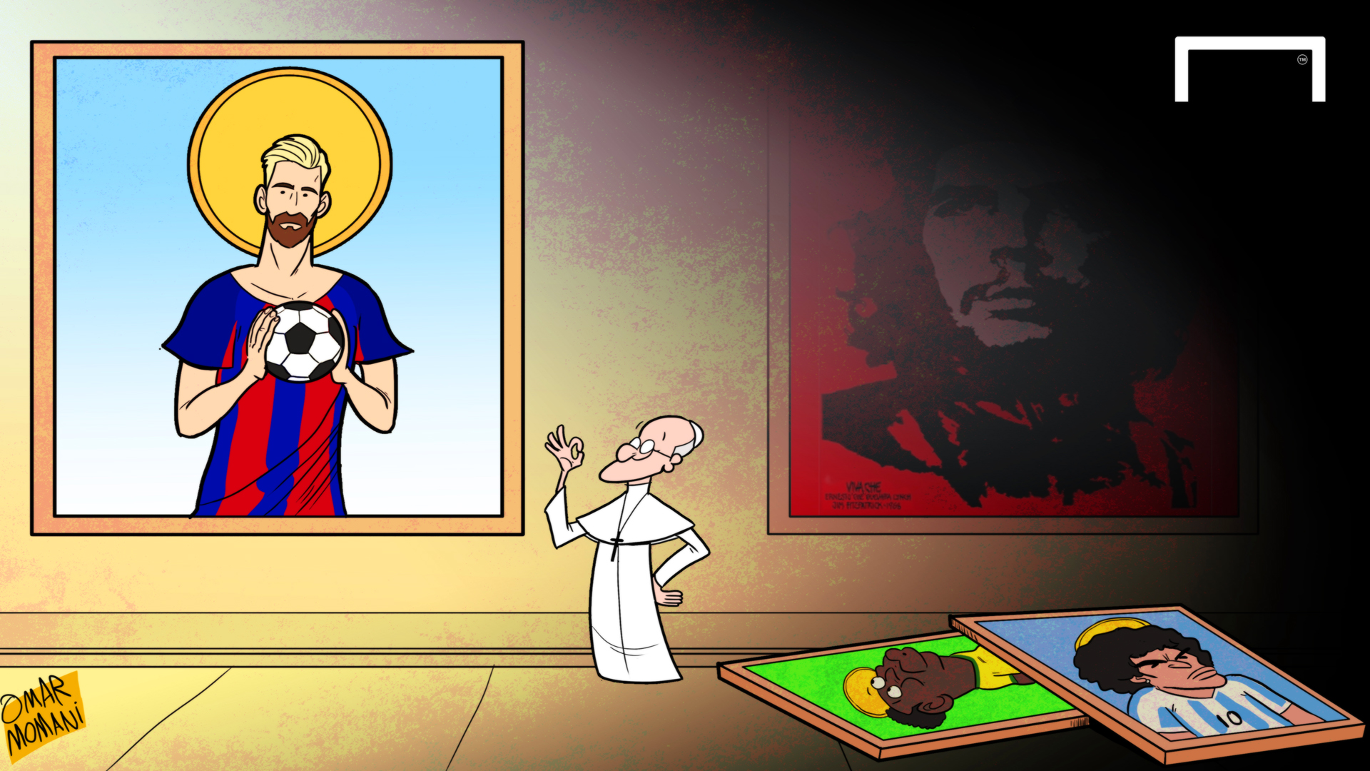 Cartoon Pope Messi is better than Pele and Maradona