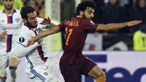 Lucas Tousart Mohamed Salah Lyon AS Roma Europa League 09032017
