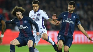 Oscar Trejo Adrien Rabiot Thiago Motta Paris SG Toulouse Ligue 1 19022017