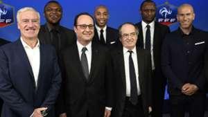 Didier Deschamps François Hollande Noel Le Graet Marcel Desailly Thierry Henry Zinedine Zidane France Brazil Friendly 26032015