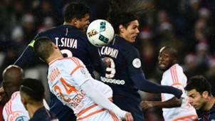 Thiago Silva Edinson Cavani Paris SG Lorient Ligue 1 21122016