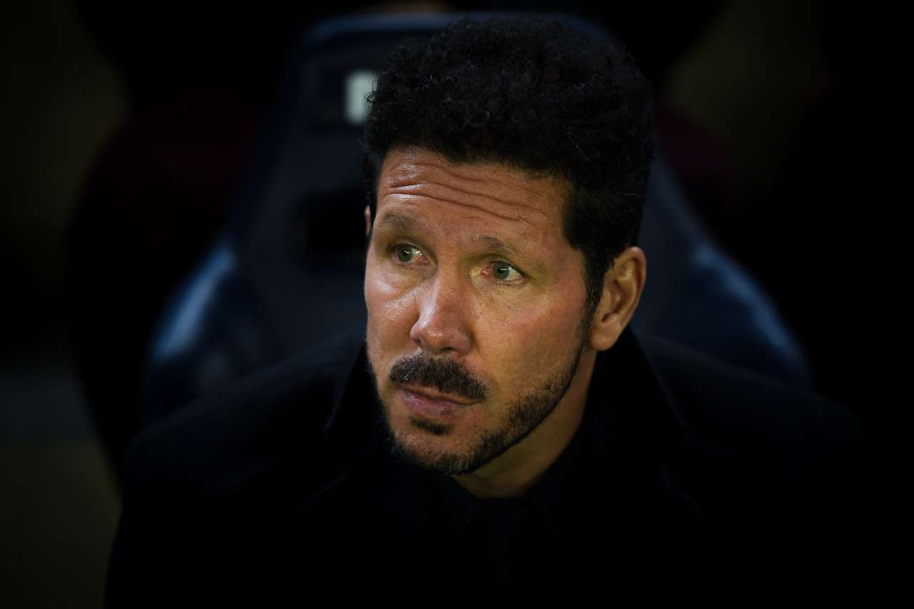 Diego Pablo Simeone of Club Atletico de Madrid looks on during the match against Villarreal CF