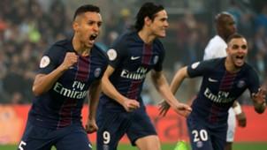 Marquinhos Layvin Kurzawa Edinson Cavani Marseille PSG Ligue 1 26022017