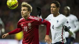 Christian Eriksen Raphael Varane Denmark France Friendly 11102015