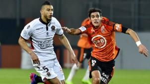 Younes Belhanda Francois Bellugou Lorient Nice Ligue 1 18022017