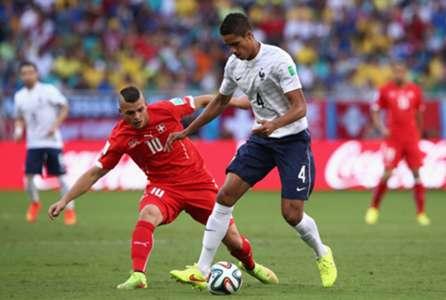 Granit Xhaka Raphael Varane Switzerland France FIFA World Cup 2014 06202014