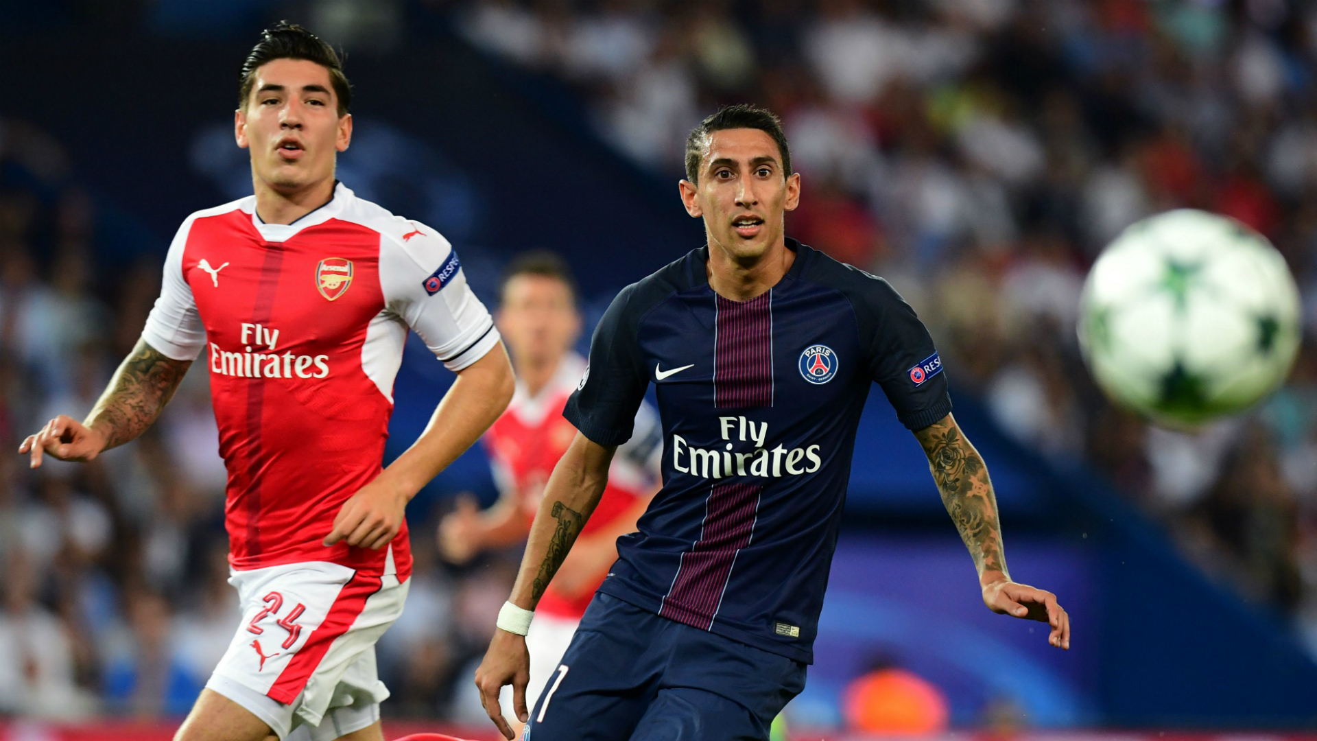 Hector Bellerin Angel Di Maria PSG Arsenal Champions League 13092016