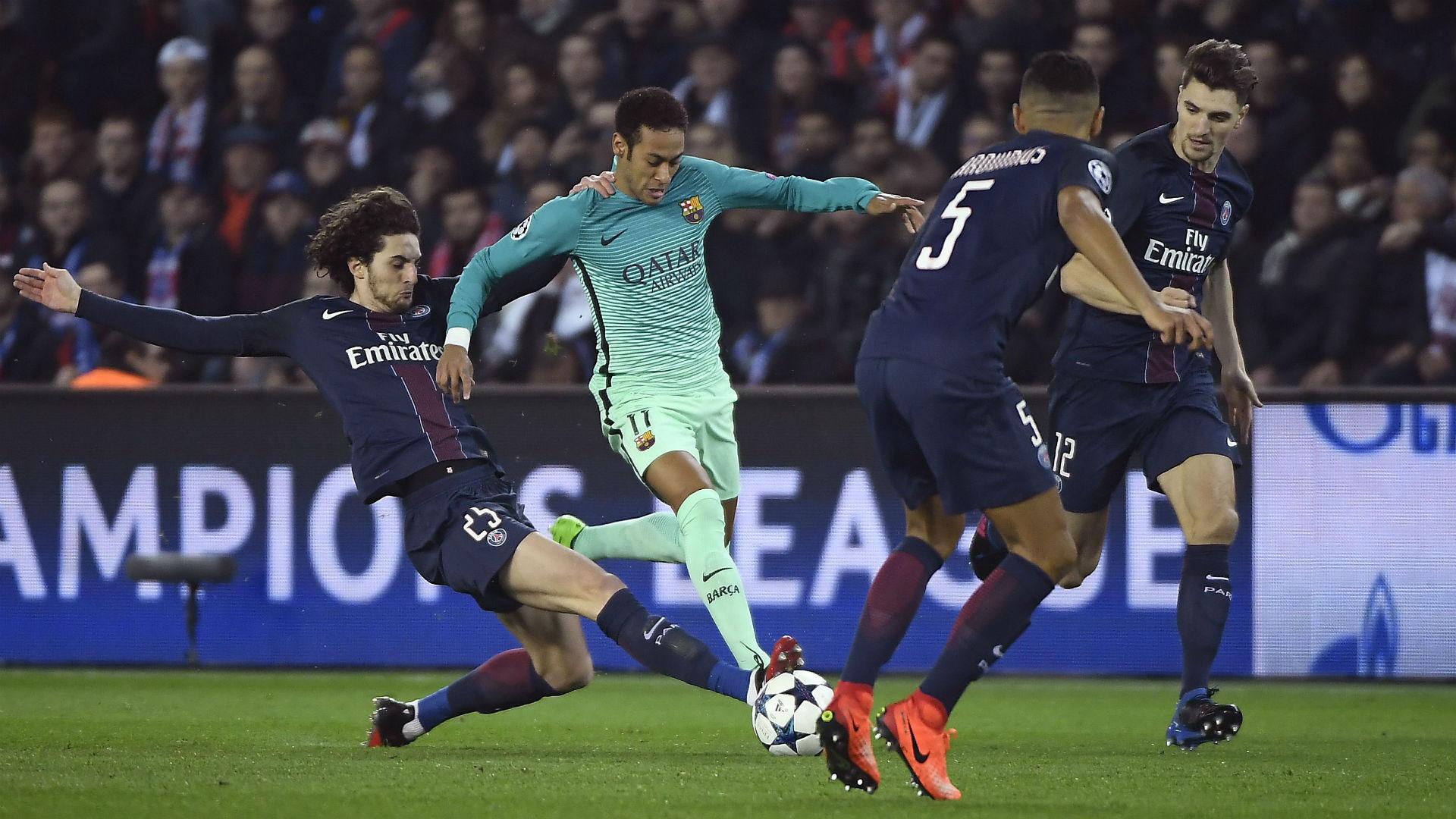 Neymar Adrien Rabiot Paris SG FC Barcelona UEFA Champions League 14022017