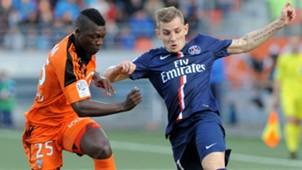 Lamine Gassama Lucas Digne Lorient Paris SG Ligue 1 01112014