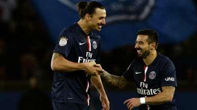 Ezequiel Lavezzi Zlatan Ibrahimovic Paris SG Nantes Ligue 1 07122014