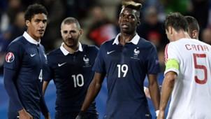 Raphael Varane Karim Benzema Paul Pogba France Albania Friendly 14112014
