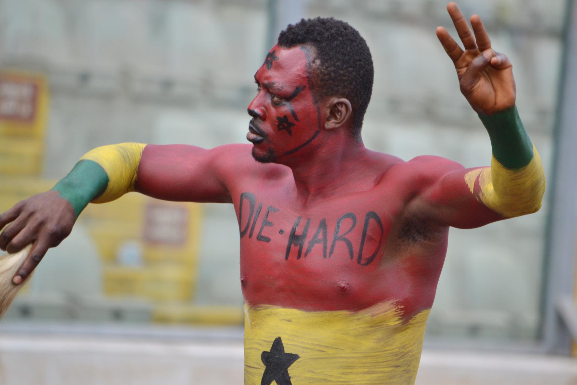 Ghana robotic fan at the Kumasi stadium