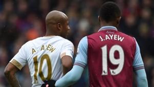 Andre Ayew of Swansea City & Jordan Ayew of Aston Villa
