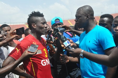 Ghana captain Asamoah Gyan in an interview with the press in Kumasi