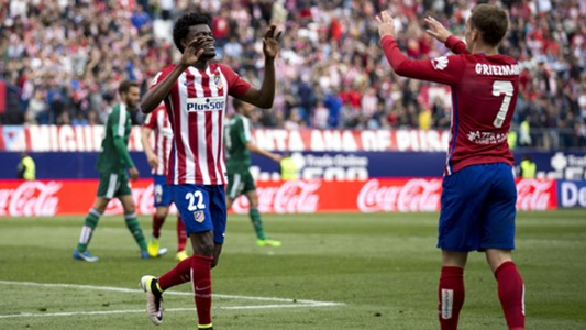 Thomas Partey & Antonie Griezmann of Atletico Madrid