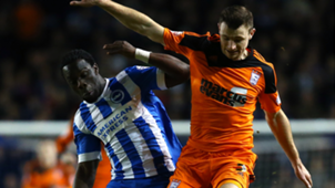 Ipswich's Tommy Smith holds off Brighton's Elvis Manu