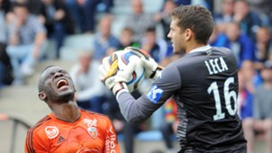 Waris Majeed of Lorient and Jean-Louis Leca of Bastia