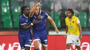 Mikael Silvestre of Chennaiyin FC celebrates goal during Second ISL semi final match against Kerala Blasters FC