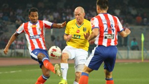 Iain Hume of Kerala Blasters FC in action against Atletico de Kolkata during ISL match