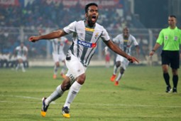 Cavin Lobo of Atletico de Kolkata celebrates goal during ISL match against FC Goa