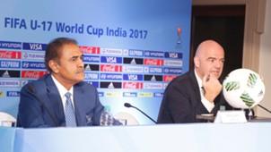 Praful Patel Gianni Infantino press conference in Goa