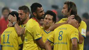 Sachin Tendulkar interacts with Kerala Blasters players after they lost ISL final match against Atletico de Kolkata