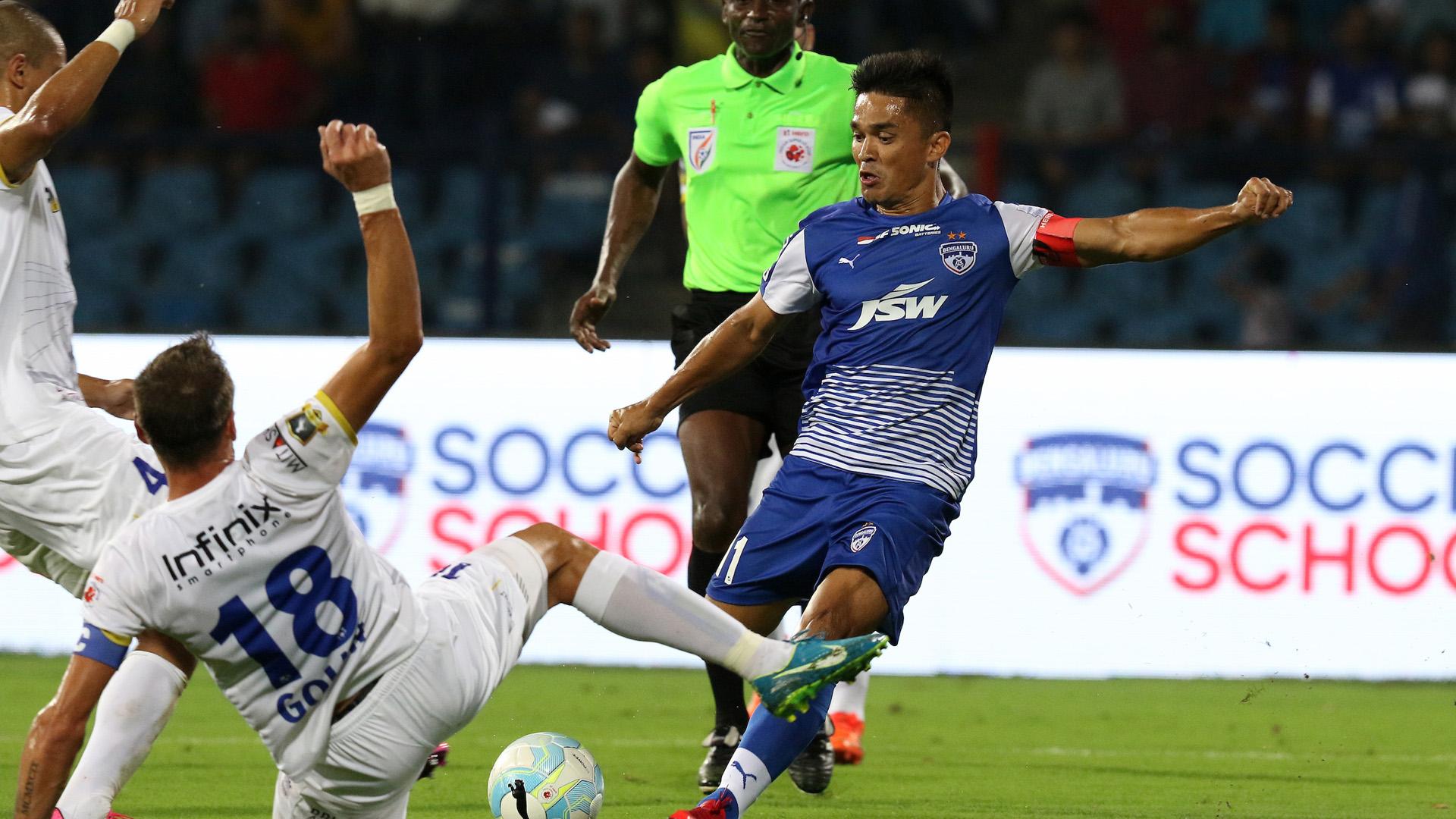 Sunil Chhetri Bengaluru FC Mumbai FC ISL season 4 2017/2018