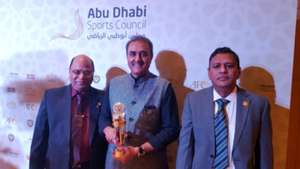 Praful Patel, Kushal Das and Subrata Dutt posing with the coveted award in AFC Annual Awards Abu Dhabi 2016