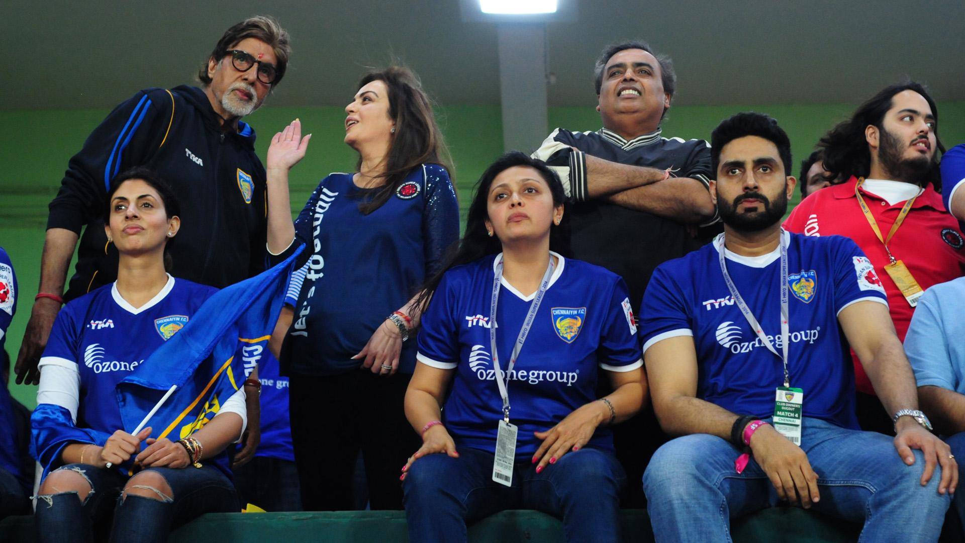 Amitabh Bachchan Nita Ambani Mukesh Ambani Abhishek Bachchan during Second ISL semi final match between Chennaiyin FC and Kerala Blasters FC