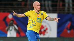 Iain Hume of Kerala Blasters FC celebrates a goal during ISL match against FC Pune City