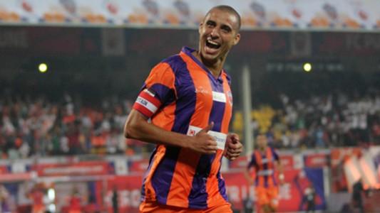 David Trezeguet of FC Pune City celebrates after scoring a goal during ISL match against FC Goa