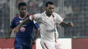 Jermaine Pennant of FC Pune City in action during ISL match against FC Goa