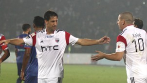 Joan Capdevila and Koke of NorthEast United FC in action during ISL match against Mumbai City FC