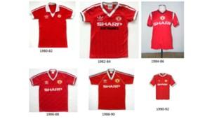 adidas Manchester United kits 1980-92