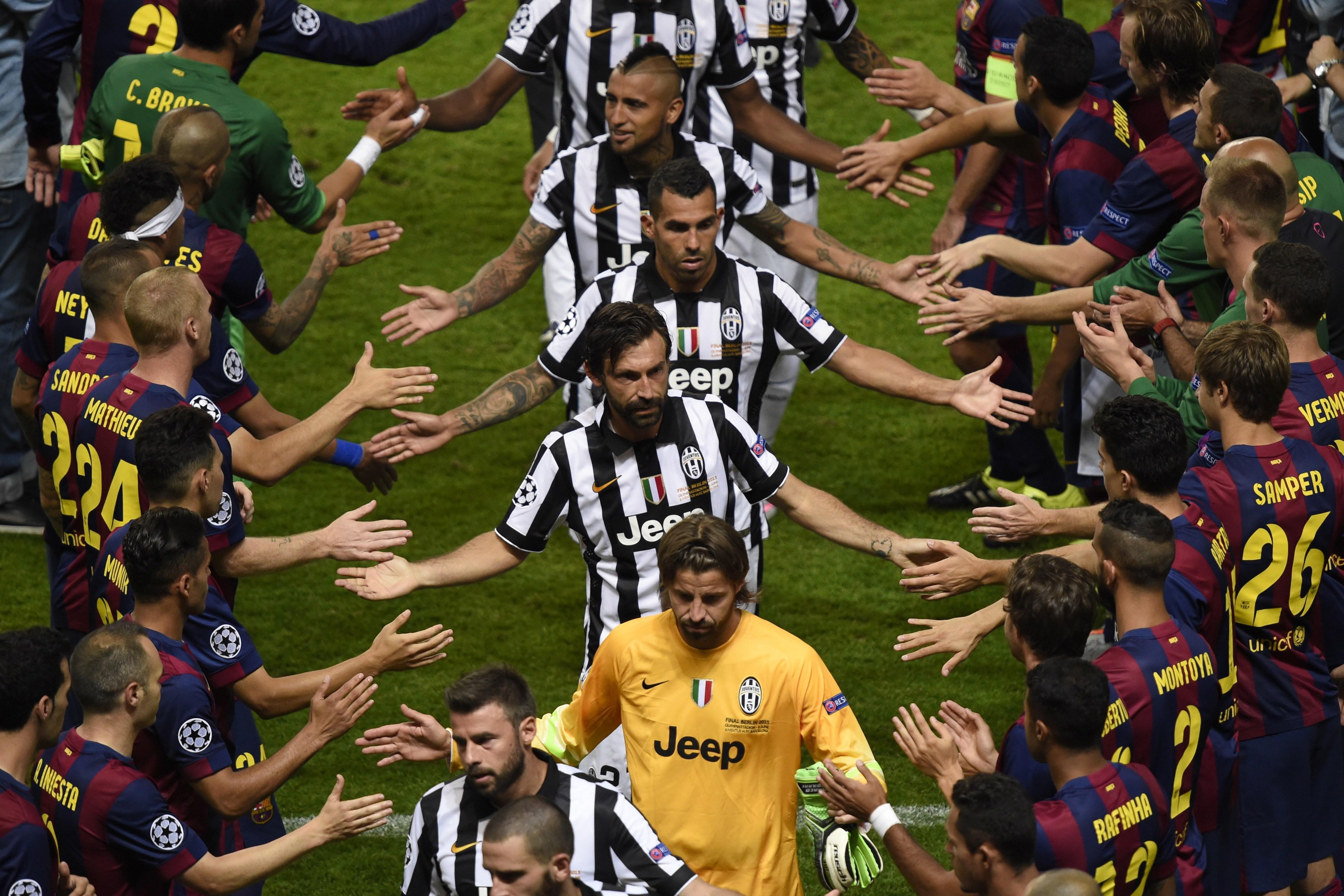 Carlos Tevez Buffon Pirlo Pogba Juventus Barcelona