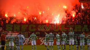 Shamrock Rovers fans and players 14102016