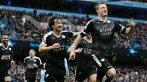 Robert Huth Shinji Okazaki Manchester City v Leicester City - Premier League 02062016
