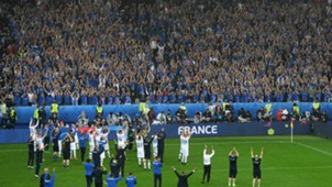Iceland players and supporters, France vs Iceland