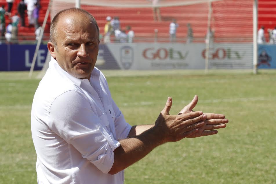 AFC Leopards coach Zdravko Logarusic urges on his charges against Gor Mahia