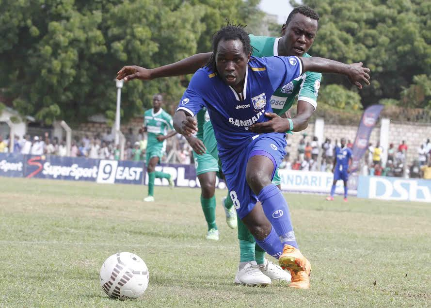 Bandari striker Dan Sserunkuma in action against former club Gor Mahia