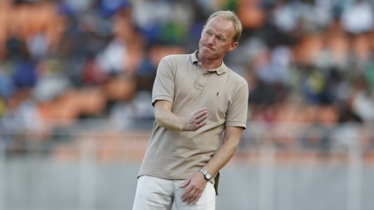 Coach Frank Nuttall reacts as Gor Mahia beat KMKM of Zanzibar in Tanzania