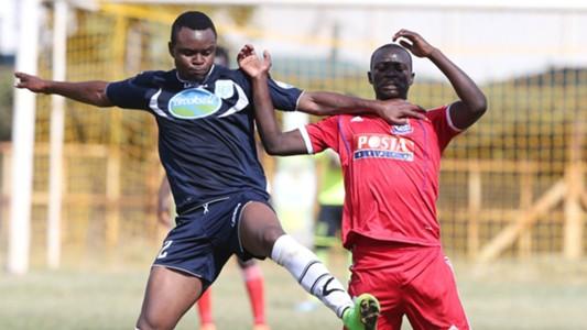 Shami Kibwana of Thika and Duncan Otieno of Posta Rangers