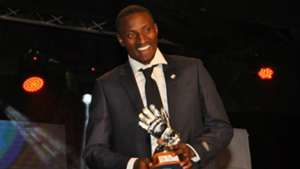 Goalkeeper of the Year - Chemelil Sugar's Jairus Adira parades with trophy.