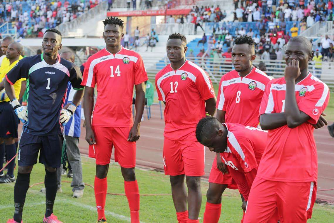 A disjointed Harambee Stars players at the final whistle