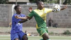 Simon Sikuku and Dennis Ombeva go for the ball