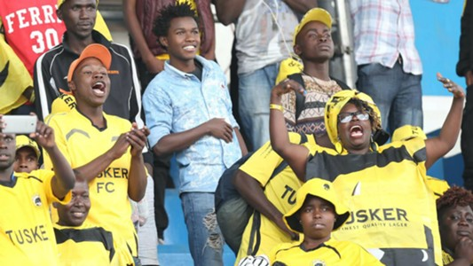 Tusker fans follow proceedings of the entertaining final against Ulinzi Stars at Nyayo Stadium
