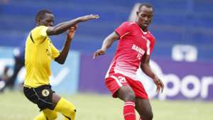 Tusker defender James Situma v Musa Mudde of Bandari
